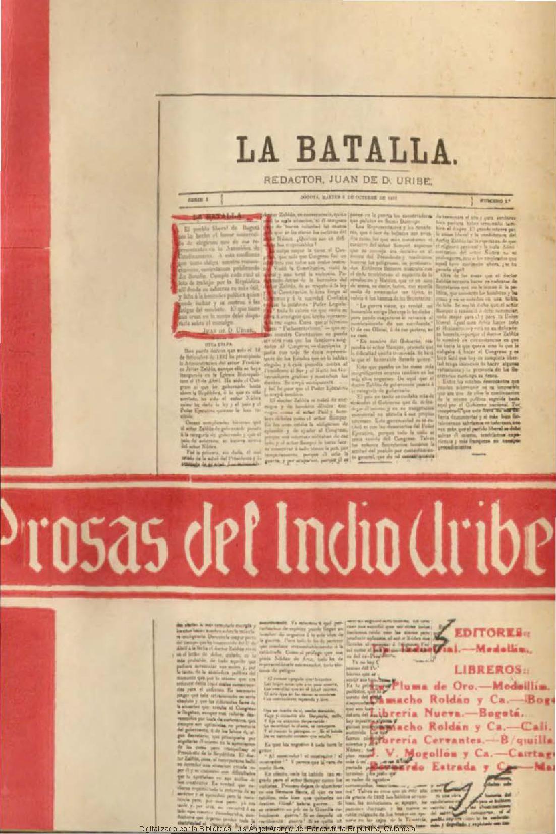 Prosas del indio Uribe - Obras generales - Colecciones digitales -  Biblioteca Virtual del Banco de la República